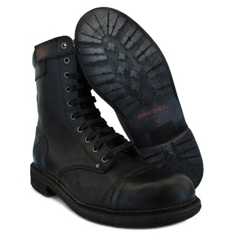 Kickers Diesel Leather Black diesel cassidy mens laced leather boots black
