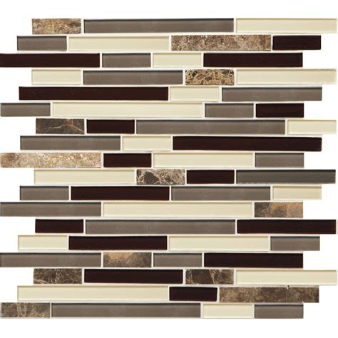 glass backsplash tile lowes shop american olean chateau emperador mixed material