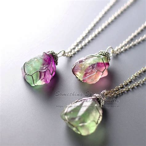crystals for jewelry rainbow fluorite necklace necklace green
