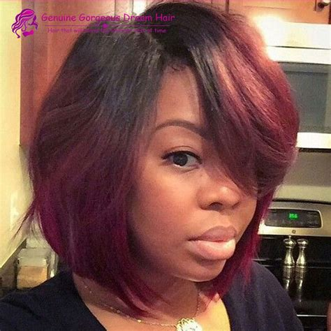 pics of black women hair ends colored two tone ombre short human hair wigs for black women