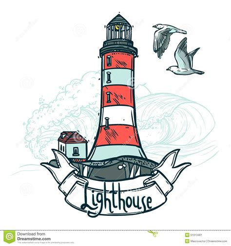 illustration de croquis de phare illustration de vecteur