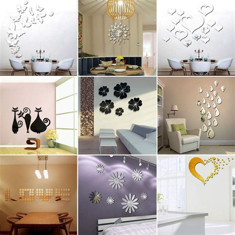 3d Home Decor 2016 Various Mirror Acrylic Wall Stickers Vinyl Diy 3d Home Decor Ebay