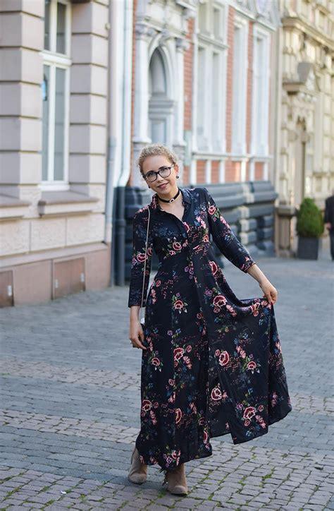 Zara Metropolis floral maxi dress from zara choker and furla kationette