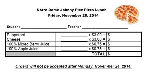 pizza order form template notre dame catholic elementary school news and events