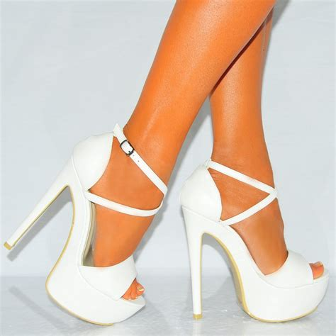 womens white strappy sandals platforms high heels shoes