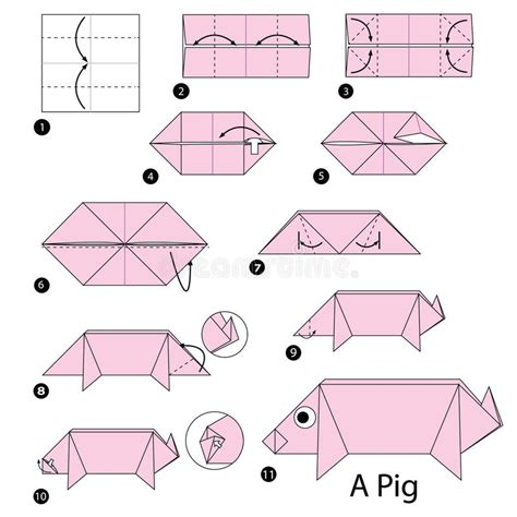 How To Make An Origami Pig - step by step how to make origami a pig stock