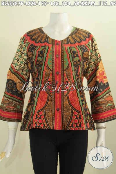 Blouse Lorin Pakaian Kerja Wanita Blouse Kantor Kekinian pakaian batik wanita model kekinian blus batik tanpa kerah motif klasik warna mewah proses