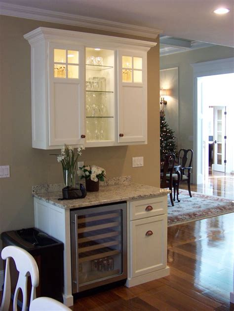 kitchen nook cabinets wine serving station with built in wine fridge and upper