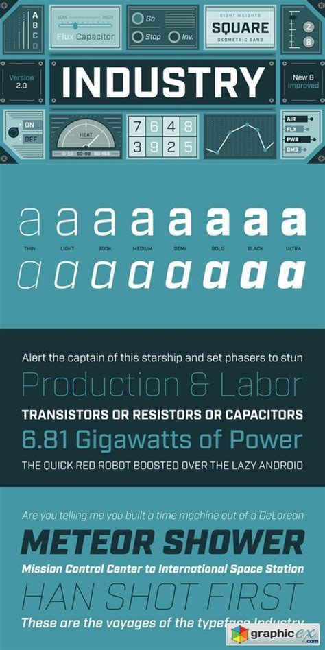 industry font family 187 free vector stock image photoshop icon