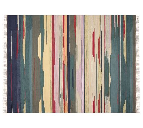 pottery barn striped rug rosalinda watercolor stripe indoor outdoor rug multi
