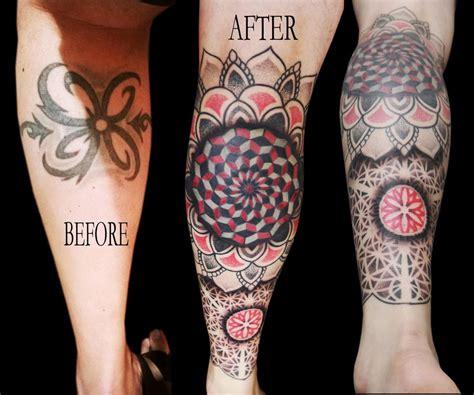 linework dotwork colour fractal mandala cover up leg