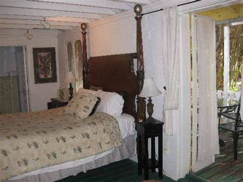 sanibel island bed and breakfast view of side porch bed and exposed beams picture of