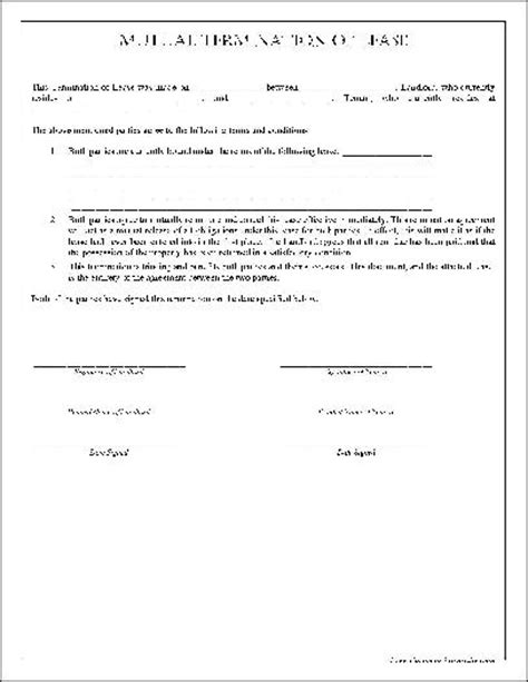 Lease Termination Agreement Template Free Termination Of Lease Form Free Printable Documents