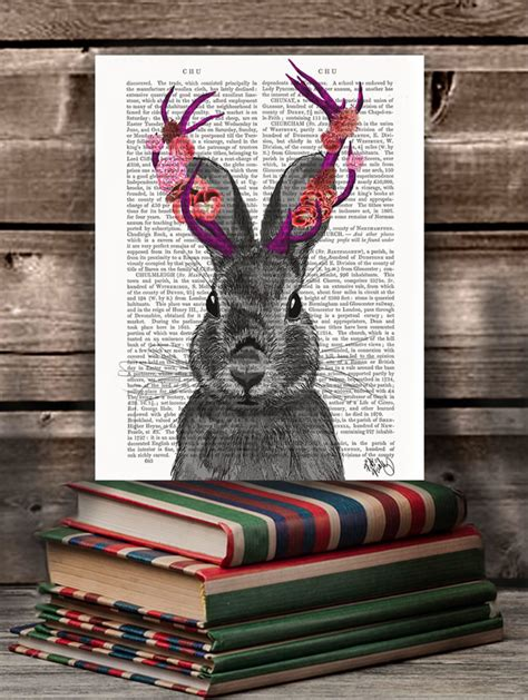 antlers books jackalope with pink antlers book print fabfunky