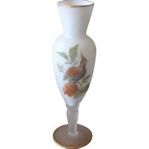 mid century norleans japan white satin glass bird vase