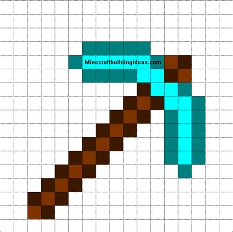 minecraft pixel art templates diamond pickaxe