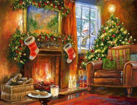 merry christmas christmas scenes christmas fireplace christmas paintings