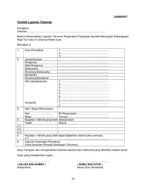 format laporan tahunan persatuan penubuhan dan pengurusan kelab persatuan unit beruniform