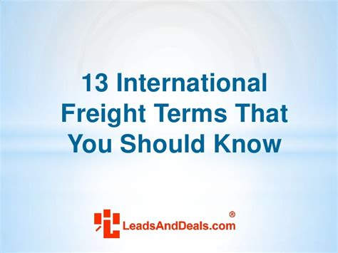 13 international freight terms that you should