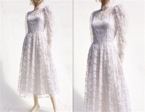 Vintage 70s Wedding Dresses by Lace Wedding Dress Vintage Tea Length 70s Wedding Dress