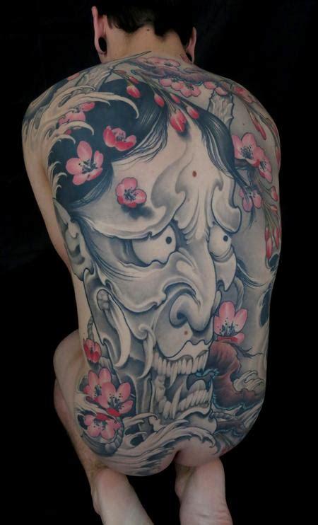 Hannya Mask Cherry Blossom Tattoo | black and grey hannya mask with cherry blossoms tattoo