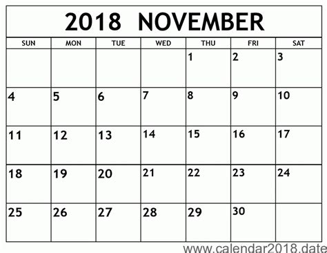 Free Printable Calendar November 2018 Free Printable Calendar 2018 Templates Download Free Calendar Template 2018