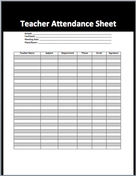attendance sheet template attendance sheet template for with 6 columns