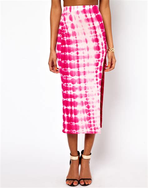 oh my pink tie dye midi skirt with thigh split lyst