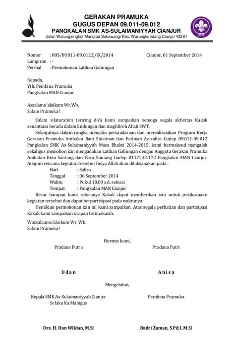 contoh surat permohonan latihan gabungan pramuka