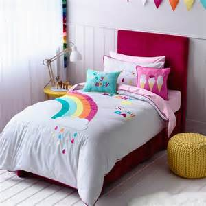 Single Duvet Cover Kids Adairs Kids Girls Rainbow Amp Sunshine Bedroom Quilt