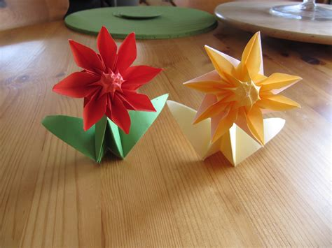How To Make Origami Figures - origami figures 03 2 flowers by jezzerz219 on deviantart