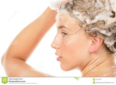 Girls Bathroom Sign by Woman Washing Hair Royalty Free Stock Photo Image 12177075