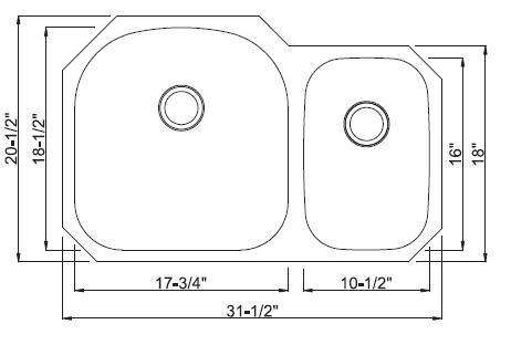 Kraus Kbu23 32 Inch Undermount 60 40 Double Bowl Kitchen Sink 16 Gauge Kraus Sink Templates