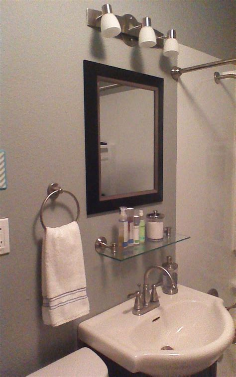 Bathroom Mirror With Glass Shelf After Added Glass Shelf Mirror Remodeled Bathroom Pinterest Shelves Glasses And
