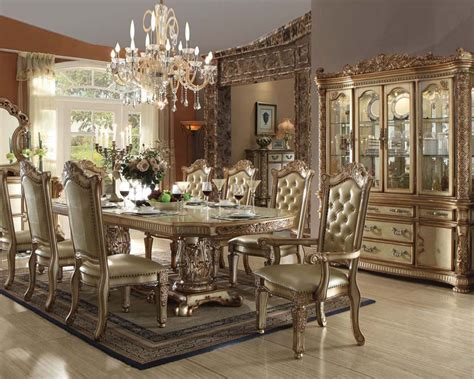 traditional dining set vendome gold by acme furniture