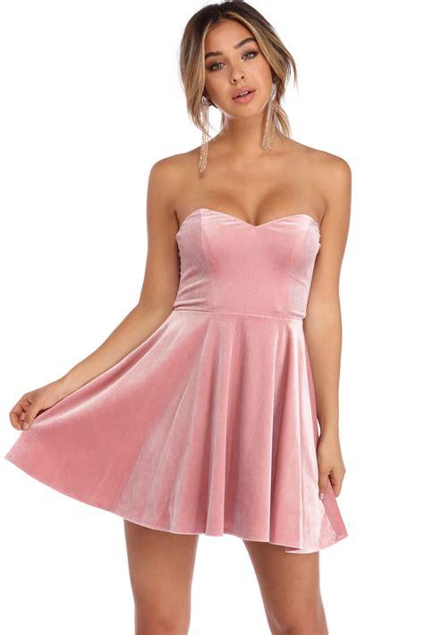 Dress Pink kiera pink velvet strapless dress