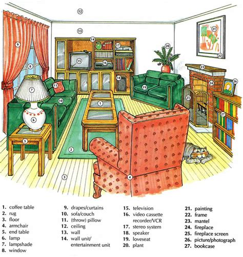 is livingroom one word living room vocabulary with pictures lesson