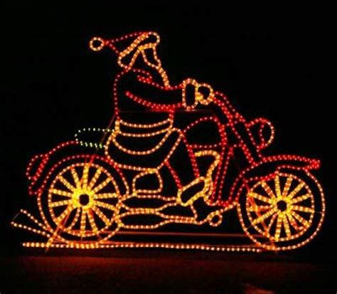animated santa on motorcycle christmas light outdoor