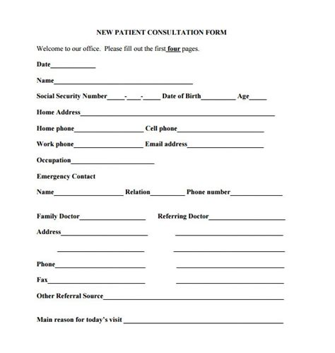 medical consultation form template medical form templates