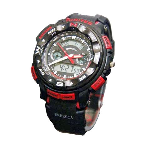 Digitec 3025 Rubber Original Water Resist Black Jam Tngan Pria jual digitec energia dg 20377 dual time original water