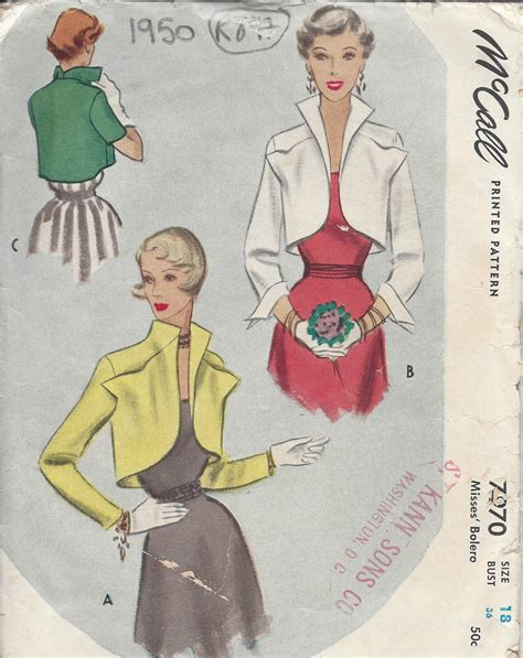 sewing pattern offers uk 1950 vintage sewing pattern b36 bolero jacket r897 ebay