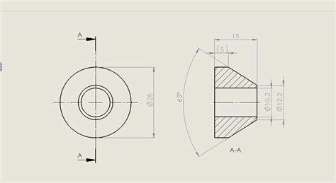 technisches zeichnen schnitt konisch zulaufender ring aus edelstahl oder
