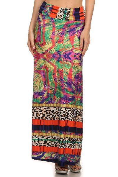 a full length printed skirt gets a touch of luxe via a printed full length maxi skirt