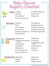 baby shower registry checklist free printable basic