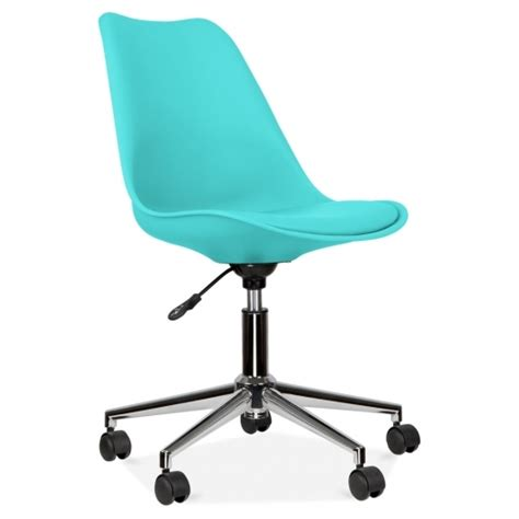 eames inspired turquoise office chair with castors cult uk