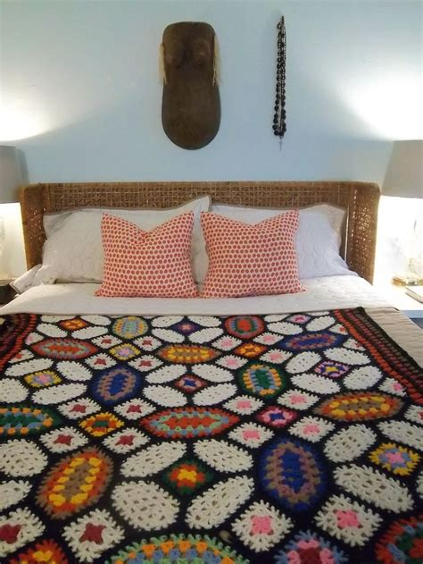 Handmade Afghan - handmade vintage crochet afghan blanket glasses stained