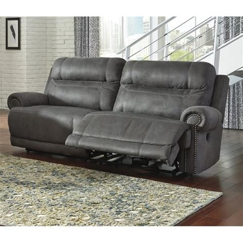 ashley furniture grey sofa ashley austere 2 seat faux leather reclining power sofa in