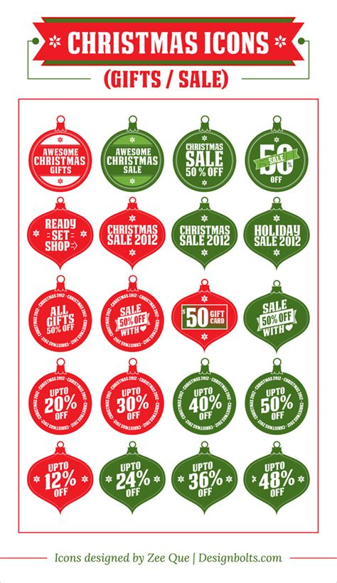 free christmas gifts sale icon set
