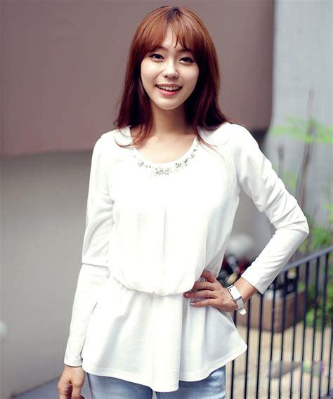 atasan korea wanita putih model terbaru jual murah import kerja