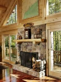 cabin fireplace ideas  pinterest log cabins living room cabin  stone cabin